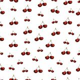 Cherries fruit seamless pattern. illustration of red cherries set pattern isolated on white background.Watercolor hand drawn vector illustration