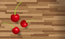 Cherries fruit on wooden table background. 3 Cherries fruit on wooden table background Royalty Free Stock Photo