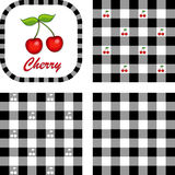 Cherries & Gingham Seamless Patterns Royalty Free Stock Photo