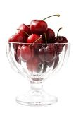 Cherries in a glass bowl Royalty Free Stock Image