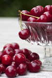 Cherries in a glass bowl close-up Royalty Free Stock Photography