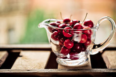 Cherries in Glass Bowl Stock Images