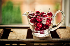 Cherries in Glass Bowl Stock Photos
