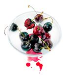 Cherries in glass bowl Royalty Free Stock Image