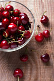 Cherries in a glass bowl Stock Photography