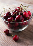 Cherries in a glass bowl Royalty Free Stock Images