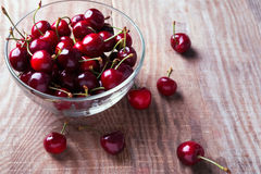 Cherries in a glass bowl Royalty Free Stock Photography