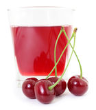 Cherries and a glass of cherry juice Stock Photos