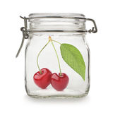 Cherries in glass jar Royalty Free Stock Photo