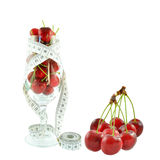 Cherries in a glass and meter Royalty Free Stock Photography