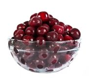 Cherries in glass plate Royalty Free Stock Image