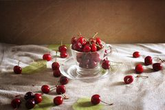 Cherries in a glass with some leaves stock photo