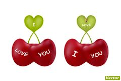 Cherries heart-shaped in vector. Photorealistic Royalty Free Stock Photos