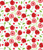 Cherries and hearts background Stock Photography