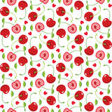 Cherries and hearts seamless pattern Stock Images