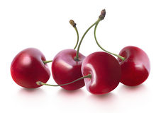Cherries horizontal isolated on white background Stock Photography