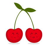 Cherries. Illustration of two cute cartoon cherries  on white background Stock Photos
