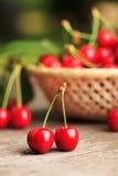 Cherries In Basket Stock Photo
