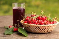 Cherries In Basket Stock Images