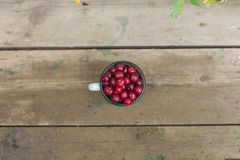 Cherries in an iron cup Royalty Free Stock Photos