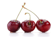Cherries isolated on white. With visible drops of water Royalty Free Stock Photography