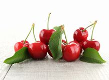 Cherries and leaf Stock Images