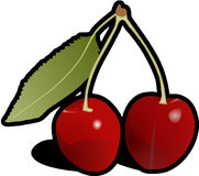 Cherries, Leaf, Fruit, Food, Red Stock Photography