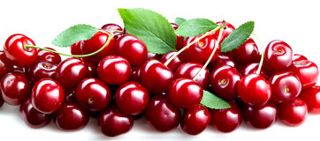 Cherries with leaves isolated. Royalty Free Stock Images