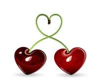 Cherries in love. Two red cherries in love Royalty Free Stock Image