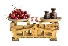 Cherries on old scales Royalty Free Stock Images