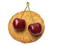 Free Cherries Over A Cookie Stock Photo - 19881010