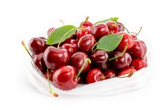 Cherries in package on white background royalty free stock photography