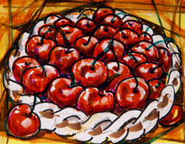 Cherries painting. Painting of a woven basket full of cherries Stock Image