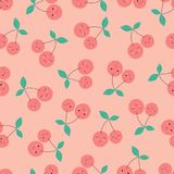 Cherries pattern on pink. Seamless pattern with cartoon cherries on pink, background with funny berries Stock Images
