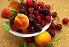 Cherries and peaches Royalty Free Stock Photo