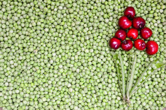 Cherries and peas background Stock Photography