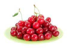 Cherries on the plate Royalty Free Stock Photo