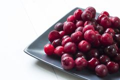 Cherries on plate Royalty Free Stock Image