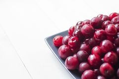 Cherries on plate Stock Image