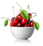 Cherries in plate isolated Royalty Free Stock Photos