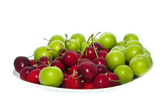 Cherries and Plums Stock Photos