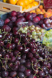 Cherries, plums and gooseberries Stock Image