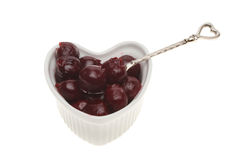 Cherries in a ramekin Stock Images