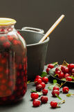 Cherries, recipes, home cooking, jar, pot, stove Royalty Free Stock Images