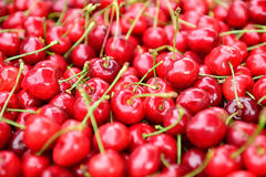 Cherries. Red ripe cherries in market Royalty Free Stock Photography