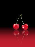 Cherries reflected Royalty Free Stock Photography