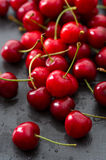 Cherries. Rinsed fresh cherries background close up stock photography