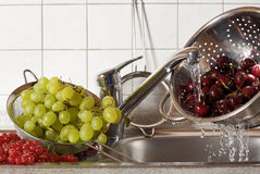 Cherries Rinsing Stock Photo