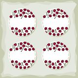 Cherries round sticker set Royalty Free Stock Photo