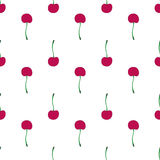 Cherries. Seamless pattern with berries. Real outline drawing. Vector illustration. Royalty Free Stock Photos